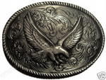 Large Rodeo Eagle Belt Buckle + display stand. Code CK3
